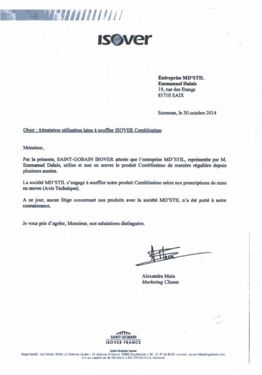 Certificat Isover 2014