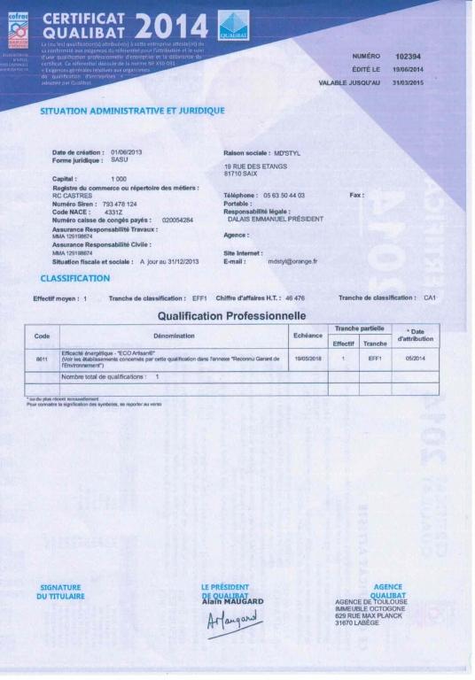Certificat Qualibat 2014