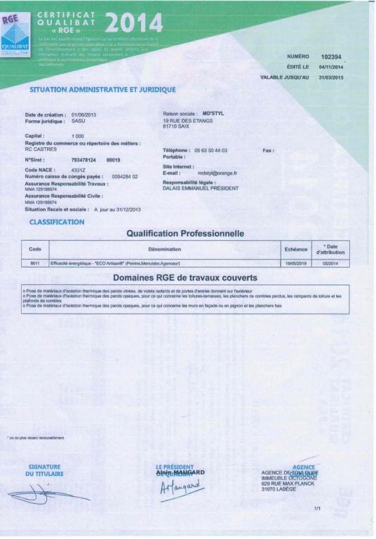 Certificat RGE 2014