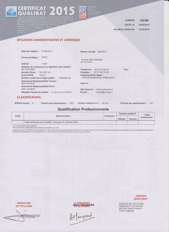 Certificat Qualibat 2015